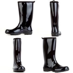 KAMIL 'Heidi' Black Shiny Tall Rain Boots-Size 9